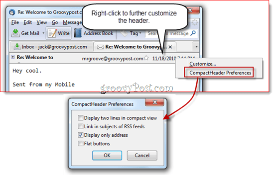 Collapse Message Header in Thunderbird