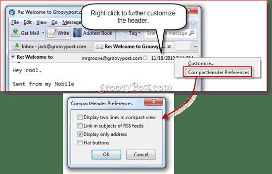 Collapse Message Header in Thunderbird