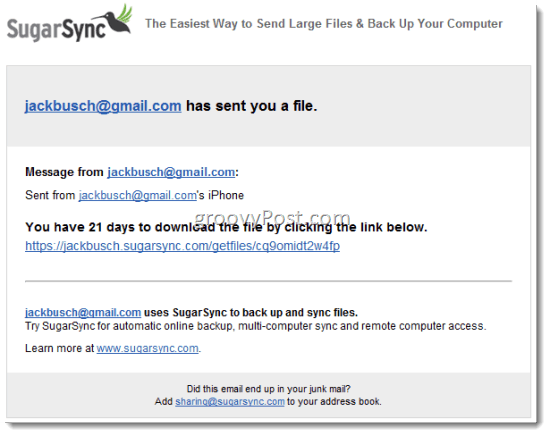 SugarSync Share Files via Email