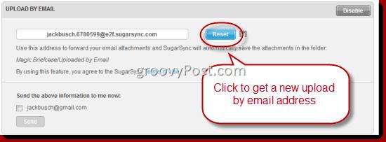 SugarSync Upload via Email