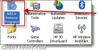 add or remove programs windows xp