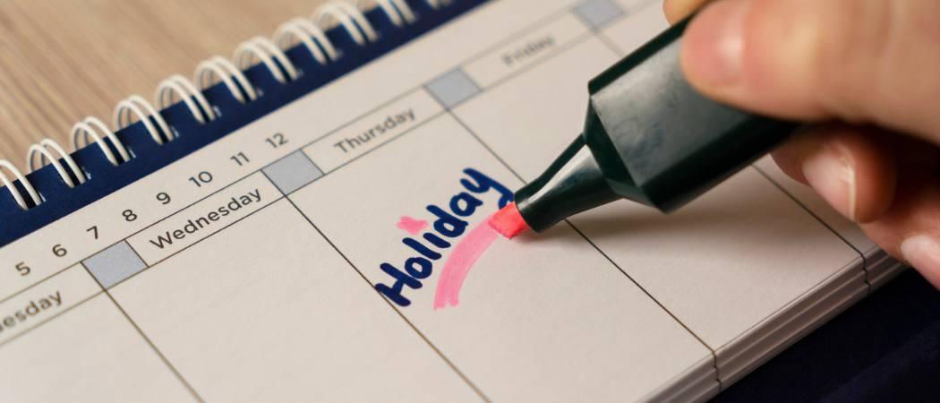 Cómo añadir los días festivos nacionales al calendario del Outlook