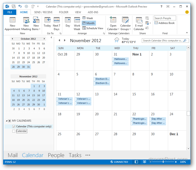 holidays in outlook 2010 or 2013 calendar