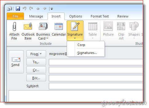 Insert Signature Outlook 2010