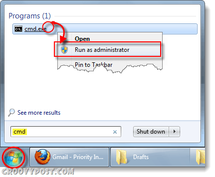 run cmd as administrator in windows 7