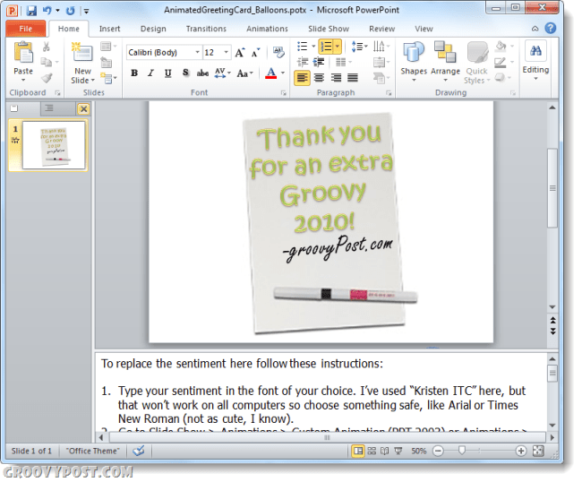 groovy e-card template in powerpoint 2010