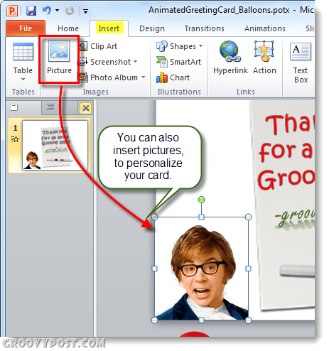 insert pictures into greeting card from powerpoint