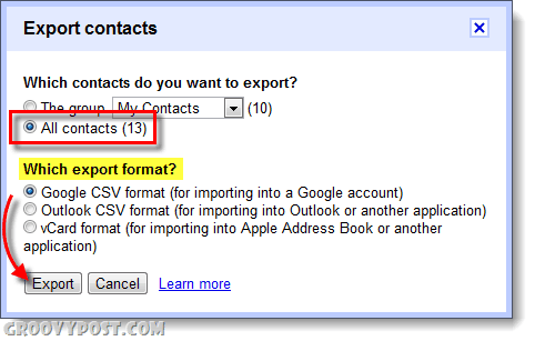 How To Export Gmail & Google Apps Contacts