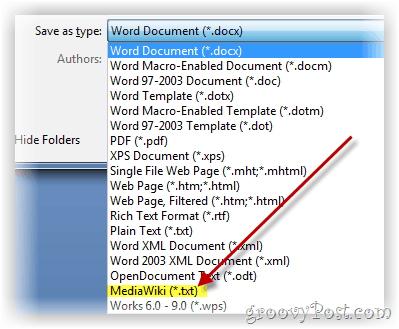 Save word document as mediawiki formatted text