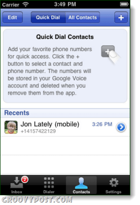 google voice quick dial