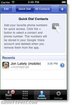 google voice quick dial