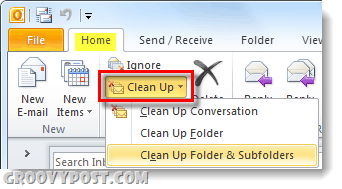 clean up your folder or conversations in outlook 2010