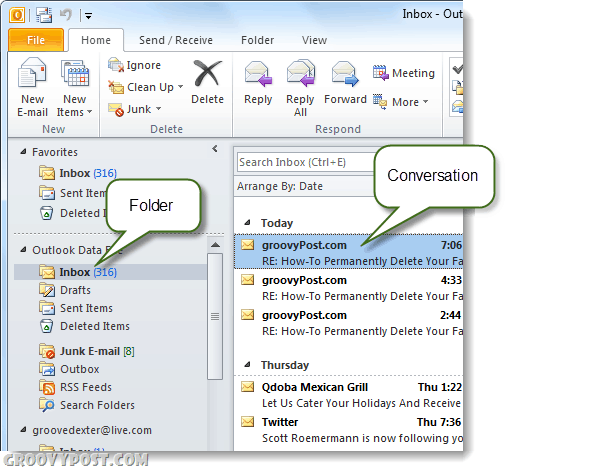 outlook 2010 conversations and folders