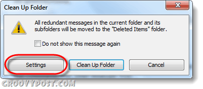 clean up folders and subfolders settings outlook 2010