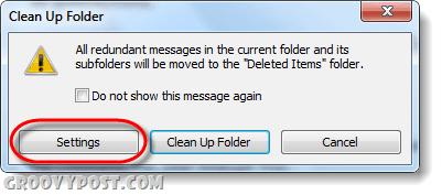 clean up folders and subfolders settings outlook 2010