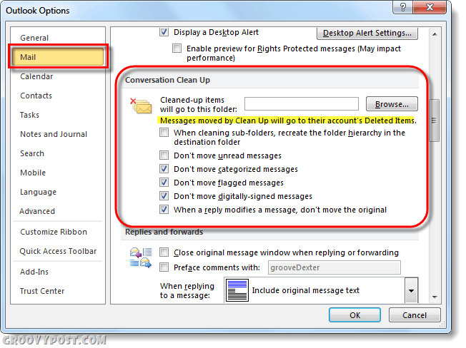 mail options outlook 2010 conversation clean up