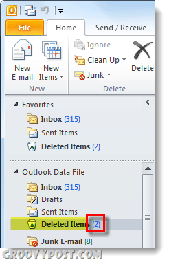 outlook 2010 deleted items folder