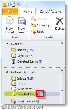 outlook 2010 deleted items folder