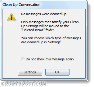 outlook 2010 no emails to clean up