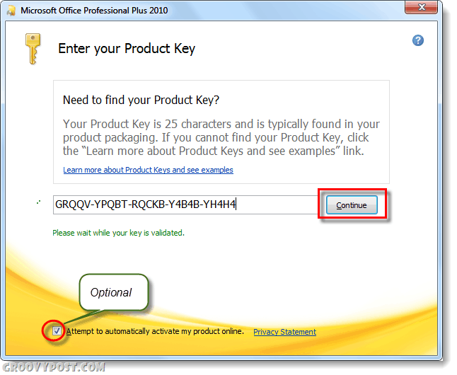 enter new office 2010 product key