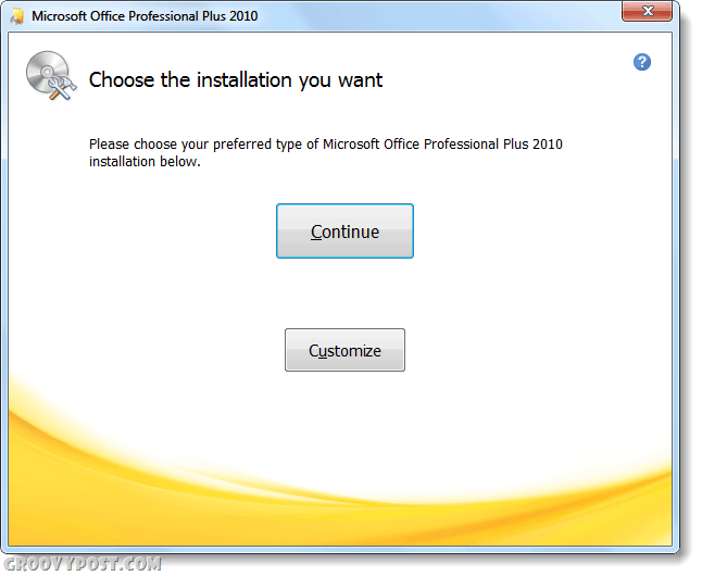 choose installation type office 2010