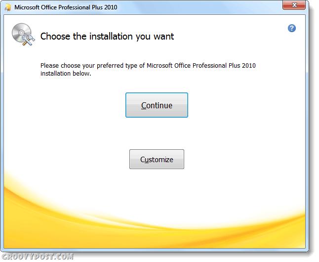 choose installation type office 2010
