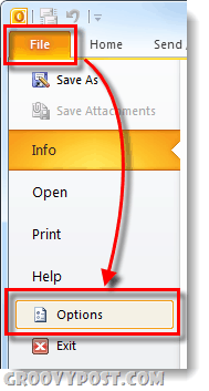 File options outlook 2010