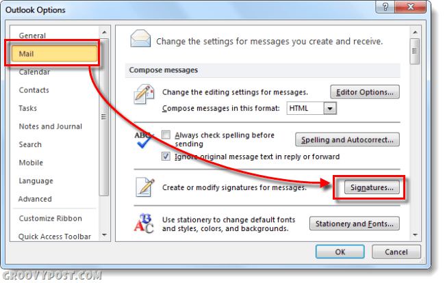 mail signatures in outlook 2010 options