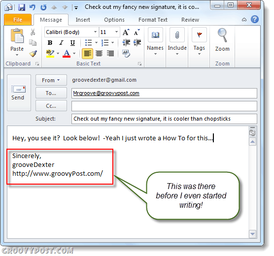 automatic signature outlook 2010