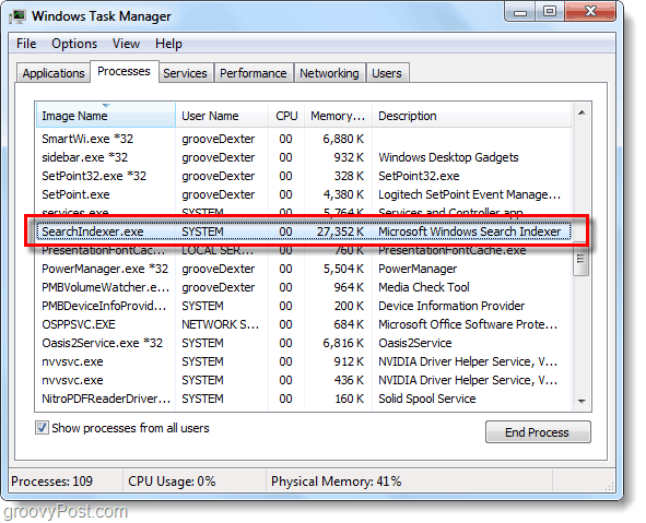 searchindexer task manager