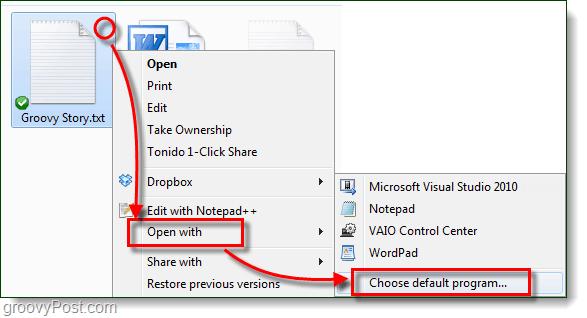 windows 7 open with default program