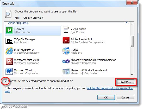 open with menu windows 7