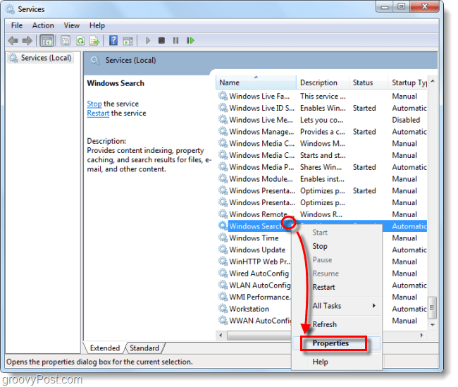 manager services in windows 7