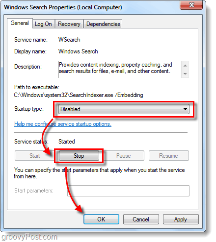 disable searchindexer.exe