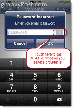 "iPhone error MEssage ""Password Incorrect enter voice mail password"""