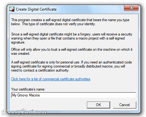 Create a Self-Signed Digital Certificate in Office 2010