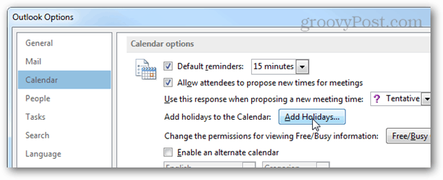 Add Holiday button in Options