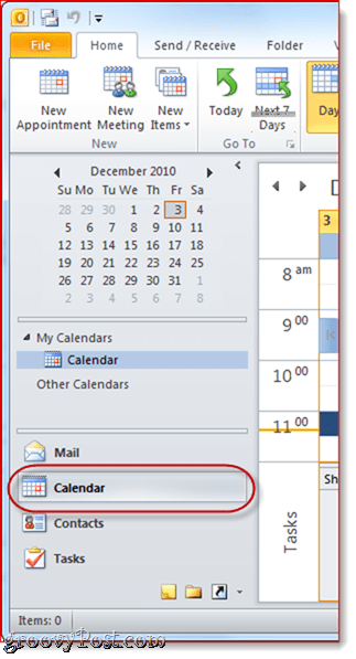 Google Calendar to Outlook 2010