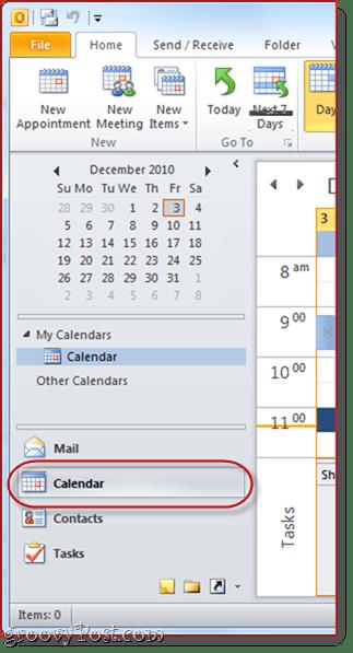 Google Calendar to Outlook 2010