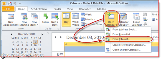 Google Calendar to Outlook 2010`