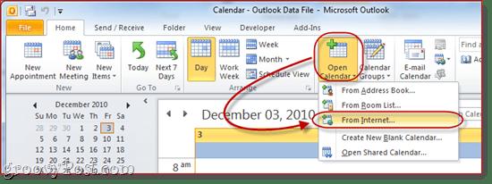 Google Calendar to Outlook 2010`
