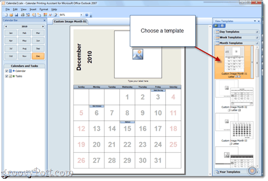 Printing Overlain Calendars with Office 2010