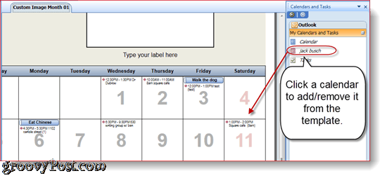 Printing Overlain Outlook Calendars