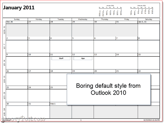 Outlook Printed Calendar