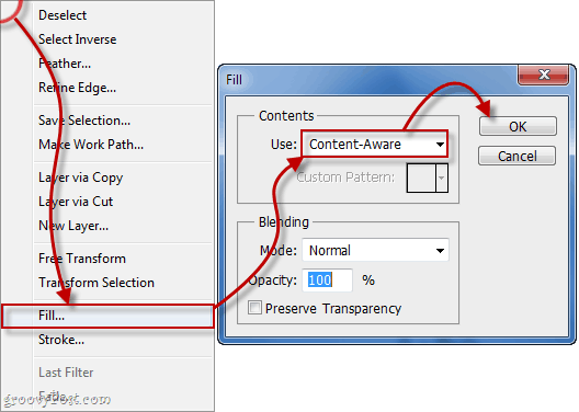 select fill and ensure content aware fill is enabled