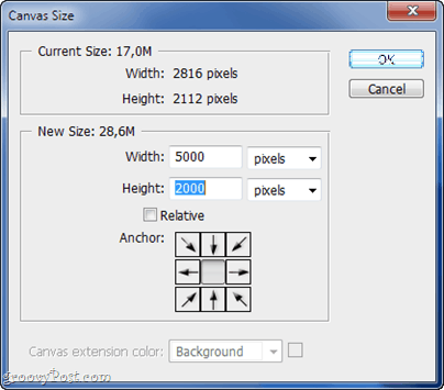 increase canvas size in photoshop cs5