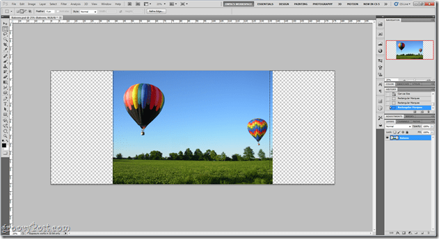 increase image size with content aware fill