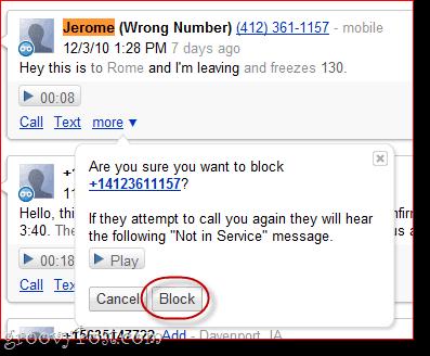 Block Calls Google Voice