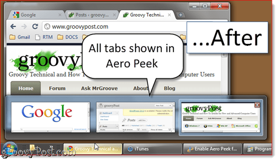 Enable Aero Peek in All Google Chrome Tabs