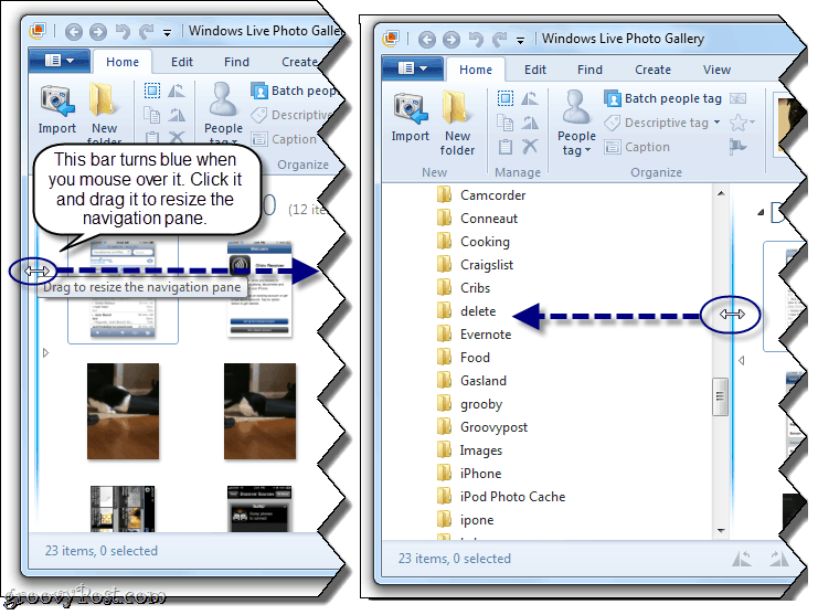 How To Showhide The Navigation Pane In Windows Live Photo